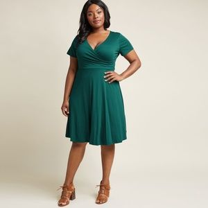 ModCloth Botanical Breakfast A-Line Dress Forest